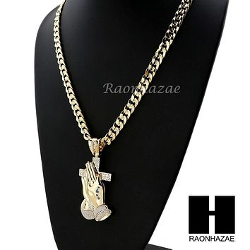 L PRAYING HANDS HOLDING CROSS PENDANT & DIAMOND CUT CUBAN LINK CHAIN 48