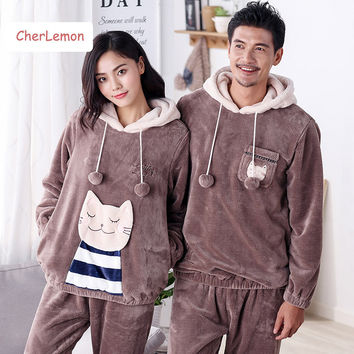 Casual hooded cartoon couples matching pajamas winter warm women & men thick flannel Home clothes soft sleep lounge set hot sale