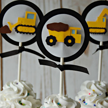 Construction Themed Birthday Party Cupcake Toppers (set of 12)