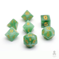 Faux Stone Green Jade Dice Set For Dungeons and Dragons