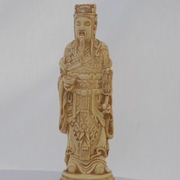 Amazing Hand Carved Faux Ivory Chinese Emperor Statue Figure - Oriental Asian Vintage Collectible