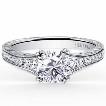"Kirk Kara ""Stella"" Hand Engraved Diamond Engagement Ring"