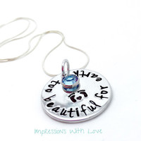 Infant loss - miscarriage  necklace - handstamped - angel baby - too beautiful for earth - memorial necklace - birthstone - keepsake