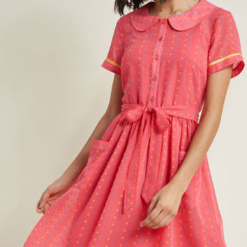 Darling in Dots Shirt Dress in Punch