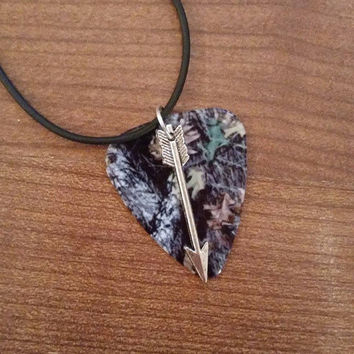 Mossy Oak Camo Camouflage guitar pick necklace with follow your arrow charm country jewelry for southern farm girl cute unique gift