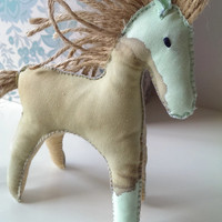 Coffee Stained Troy Horse Ornament. Handmade Self-standing Mint Colour Pony with Mane and Tail from Jute Rope