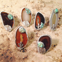 Halona Glass Agate Turquoise and Cactus/Chief Ring - Various Colors