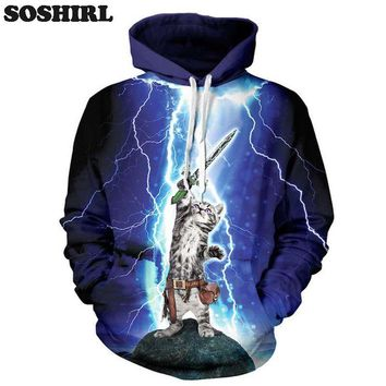 Lightning Cat Hero Hoodie New Fashion Hoodie Sweatshirt For Men 3D Print Animal Hoody Harajuku Hooded Cute Polluver Dropship