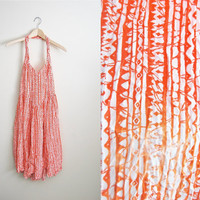Vintage 80s Orange and White Batik Tribal Print Halter Summer Dress