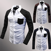 Color Contrast Slim Fit Men Fashion Dress Shirt