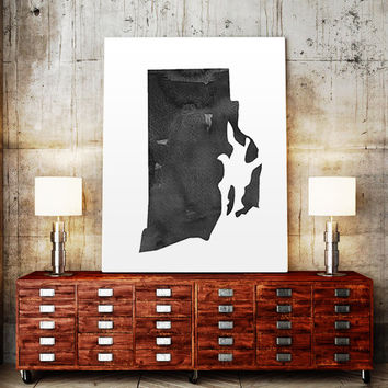Rhode Island Map State Watercolor Painting Poster Print USA United States Modern Abstract Landscape Art Black White Watercolor Usa Map Print