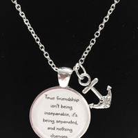 Anchor True Friendship Long Distance Quote Best Friends BFF Necklace