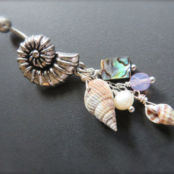 Spiral Shell Belly Button Jewelry Ring Abalone Seashell Charm Dangle Navel Piercing Bar Barbell Bellyring