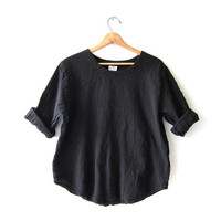 vintage black cotton top. oversized cropped shirt. minimalist Normcore shirt