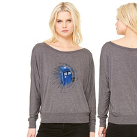tardis women's long sleeve tee
