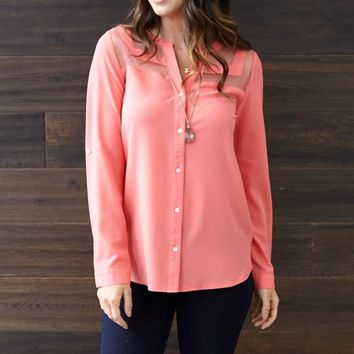 Coral Button Up Blouse I PINK BLUSH