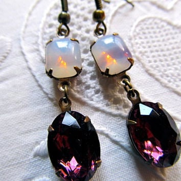 Opal Earrings Fire Opal Earrings Amethyst Purple Earrings Rhinestone Dangle Earrings- Provence