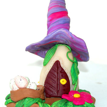 Fairy House, Easter Ostara, Polymer Fairy Home, Fairy Art, Enchantment Miniature Magical Mushroom Fairy Home