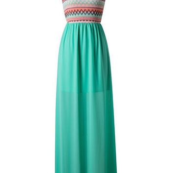 Zig Zag One Shouldered Maxi Dress - Green