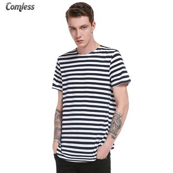2017 New Summer Short Sleeve T shirt Men Striped T-shirt Hip Hop Streetwear Tops Tees Men's Long Fashion Design Brand Clothing