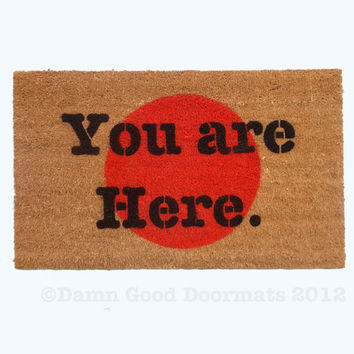 You are here novelty door mat