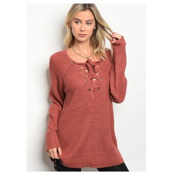 Cozy V Neck Lace Up Marsala Knit Sweater
