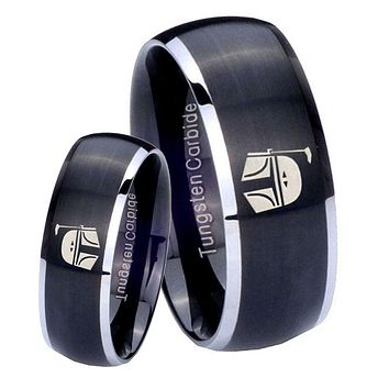 His Her Matte Dome Star Wars Boba Fett Sci Fi Science Two Tone Tungsten Wedding Rings Set