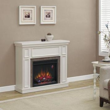 Home Decorators Collection Granville 43 in. Convertible Electric Fireplace in Antique White with Faux Stone Surround-82636 - The Home Depot