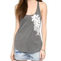 Haute Hippie Embellished Tank with Floral Applique