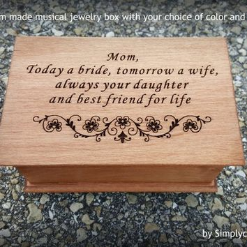 music box, jewelry box, gift for mom, custom music box, musical jewelry box, personalized, mother of bride, mother of the bride, engraved