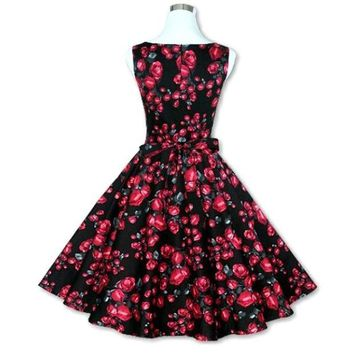 ONETOW Sexy Women's Vintage 50s 60s Floral Rockabilly Tutu Pinup Sleeveless Bodycon Evening Party Clubwear Formal Dress