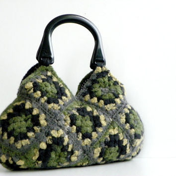 NzLbags Felted Wool Crochet Handbag Shades Wonderful by NzLbags