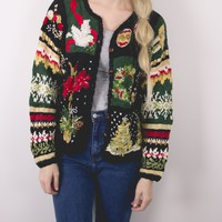 Vintage Wreath Ornament Knit Ugly Christmas Sweater