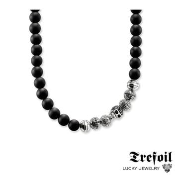 Strand Necklace Obsidian Beads Skull & Cross, Fashion 925 Sterling Silver Jewelry Punk Gift For Men Women Boy Girls 2018 Kolye