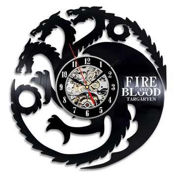 GAME OF THRONE FIRE AND BLOOD  VINYL RECORD WALL CLOCK UNIQUE DESIGN