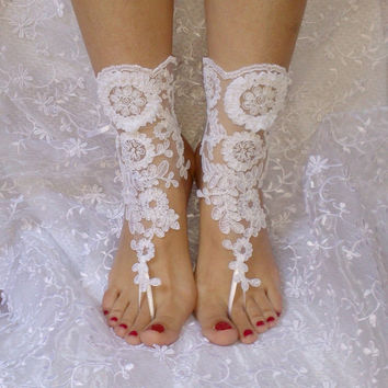 Free ship white Beach wedding barefoot sandals wedding shoe prom party steampunk bangle beach anklets, bridal accessories
