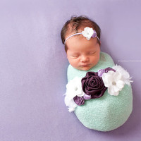 Sash and Headband Set, Maternity Sash, Headband, Purple, White, SWAROVSKI, Maternity Belt, Newborn Photo Prop, Bucket Sash, Photography Prop
