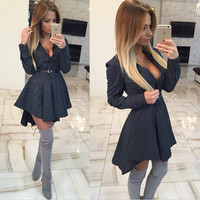 2016 Fashion new arrivals women Casual sexy club dress print Full sleeve v-Neck Asymmetrical Above Knee Female mini dress