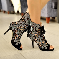 Summer Pointed Toe Flowers Hollow-out Lace Up Stiletto High Heels Black Leather Ankle Sequined Boots