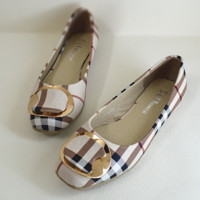 New flattened beef bottom shoes Apricot
