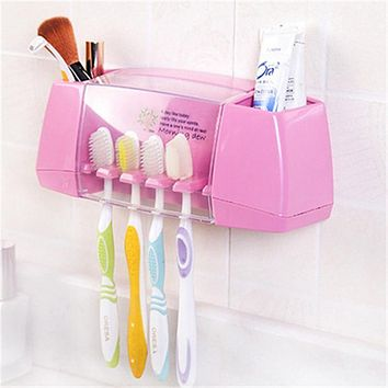 HOT Cute Multifunctional Toothbrush Holder Storage Box Bathroom Accessories Suction Hooks Tooth Brush Holder for Kids Family Set