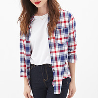 FOREVER 21 Madras Plaid Shirt White/Blue Small