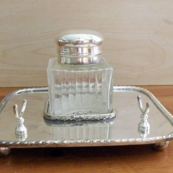 Vintage Inkwell and Stand, Silver Metal and Glass Inkwell and Inkstand