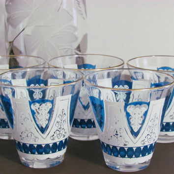 Vintage Blue Barware Glass Set
