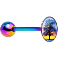 Sunset Tree Rainbow Anodized Barbell Tongue Ring