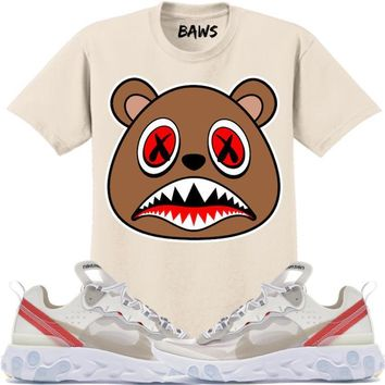 CINNAMON BAWS Sneaker Tees Shirt - Nike React Element 87 Sail Light Bone