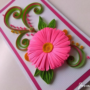 Neon pink quilling card/Birthday card/Love you card/Anniversary/Wedding/Greeting card