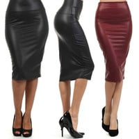 Plus Size High-Waist Faux Leather Pencil Skirt Black Skirt