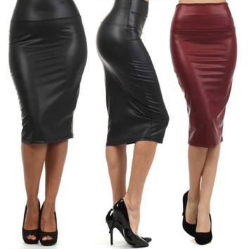 Plus Size High-Waist Faux Leather Pencil Skirt Black Skirt 12 colors XS/S/M/L/XL