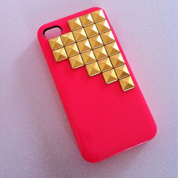 HOT Pink x Gold Studs iPhone 4 4s Case